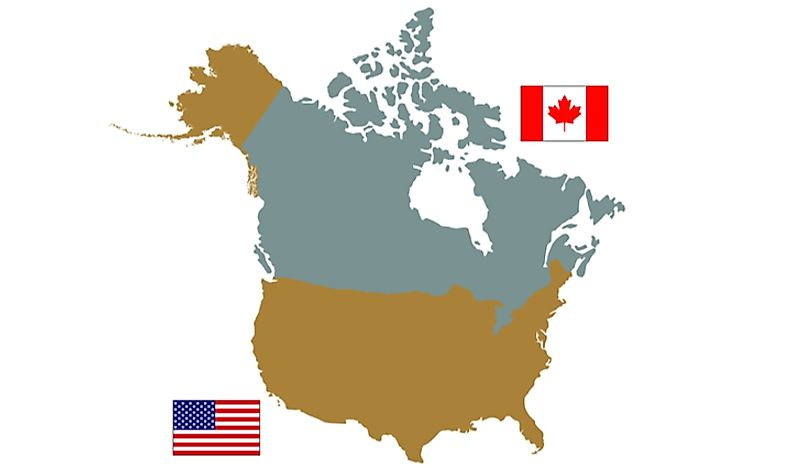 A map of Canada and the United States.