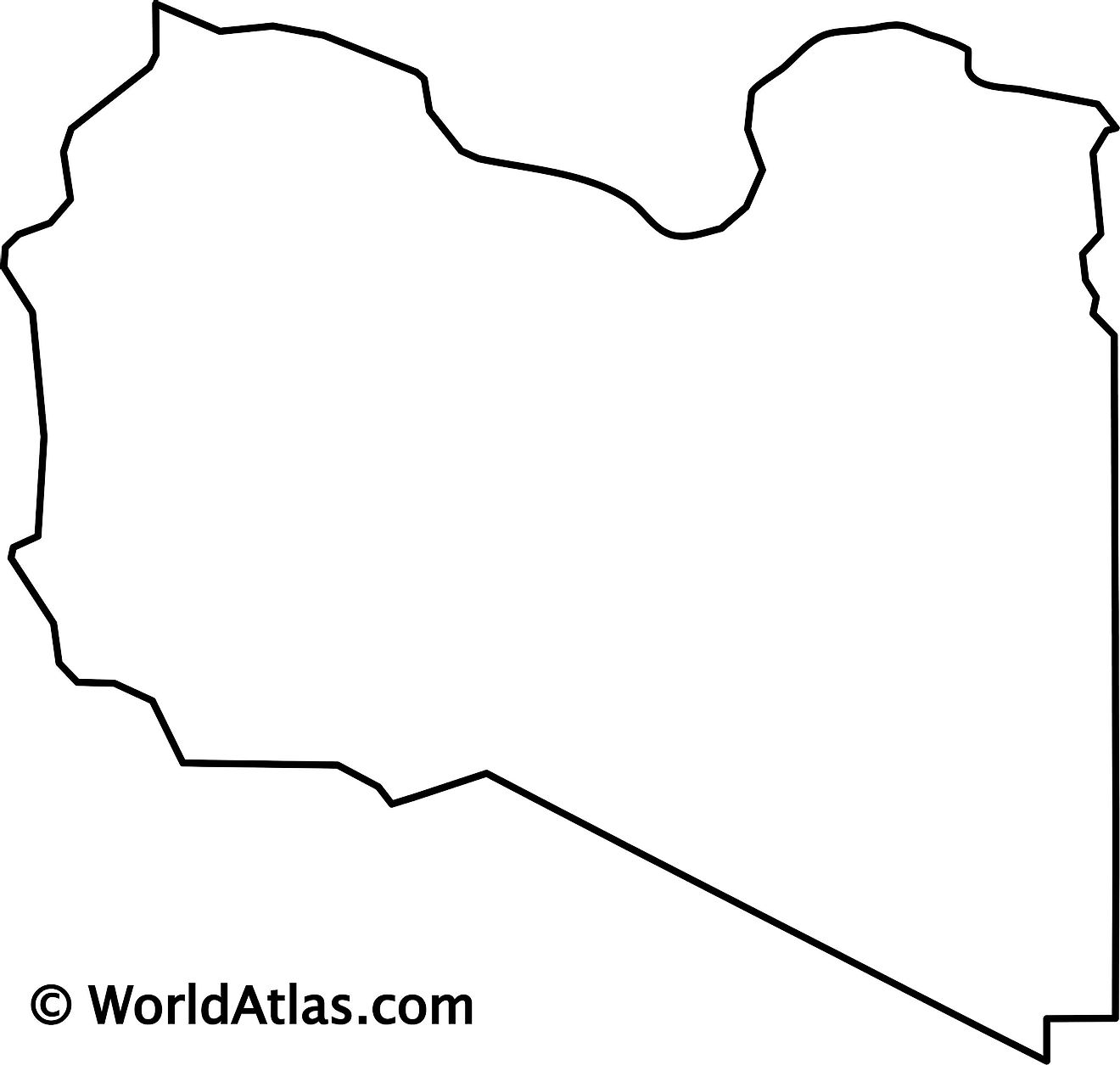 Blank Outline Map of Libya