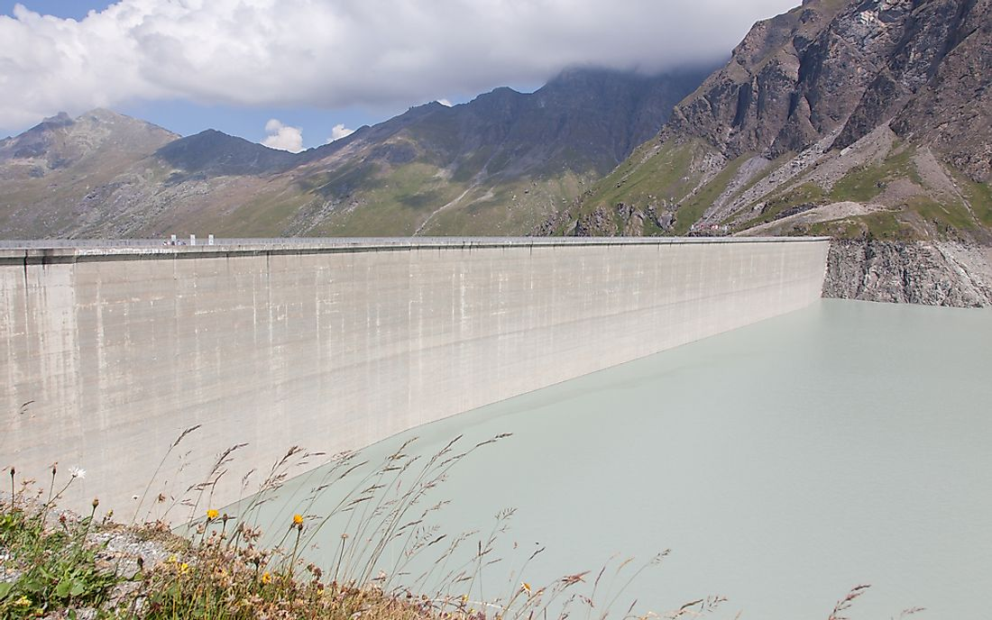 The Grande Dixence Dam located on Switzerland's Dixence River is the tallest gravity dam in the world.