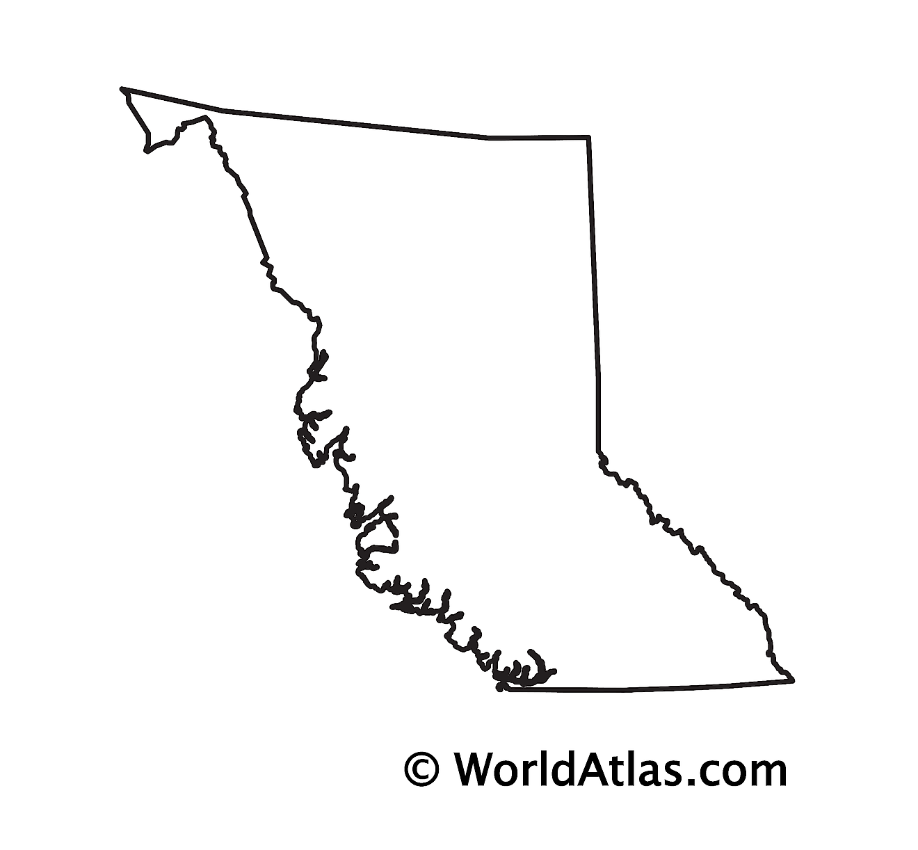 Blank Outline Map of British Columbia