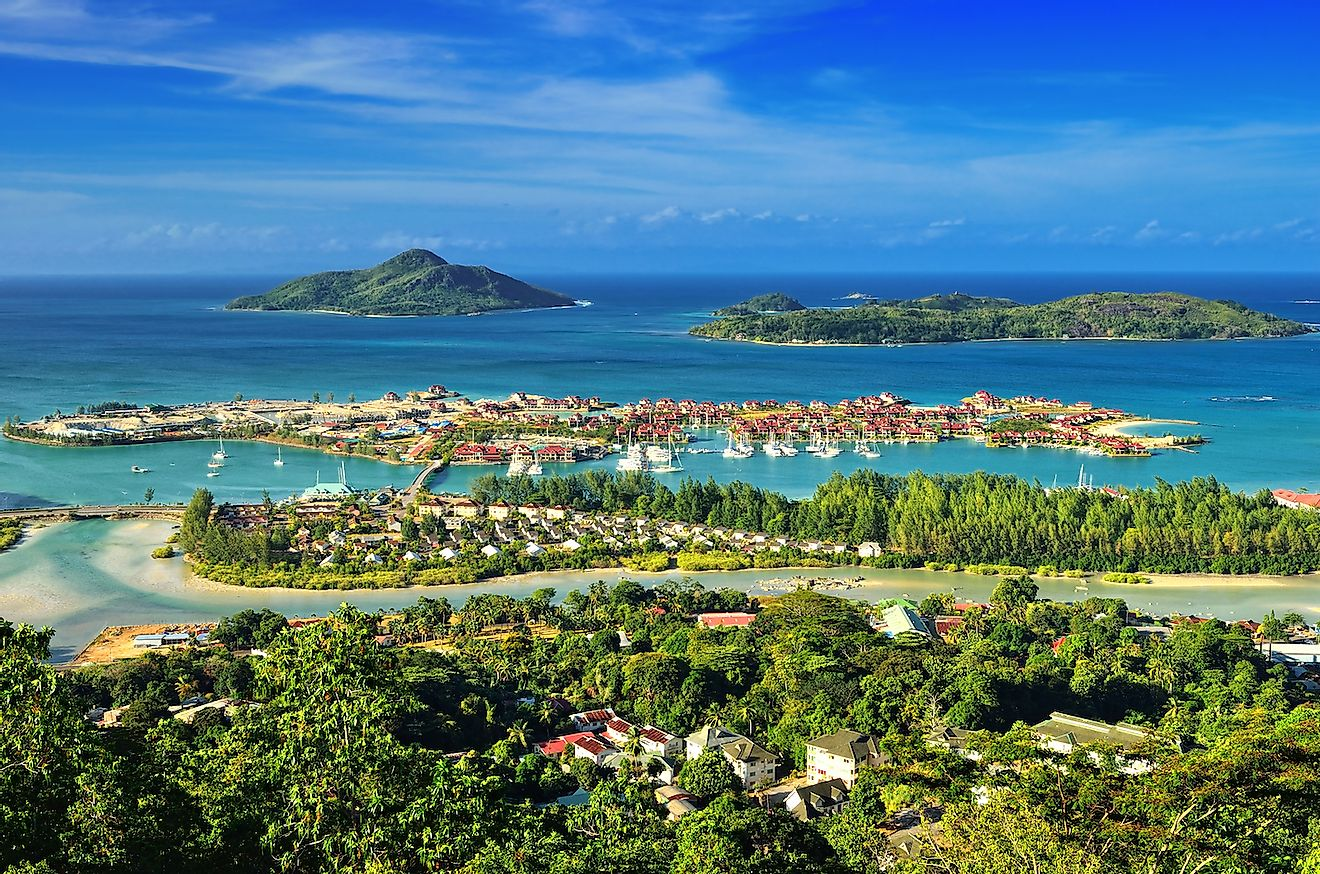 Aerial view on the coastline of the Seychelles Islands and luxury Eden Island from Victoria viewpoint, Mahe. Image credit: Oleg Znamenskiy/Shutterstock.com