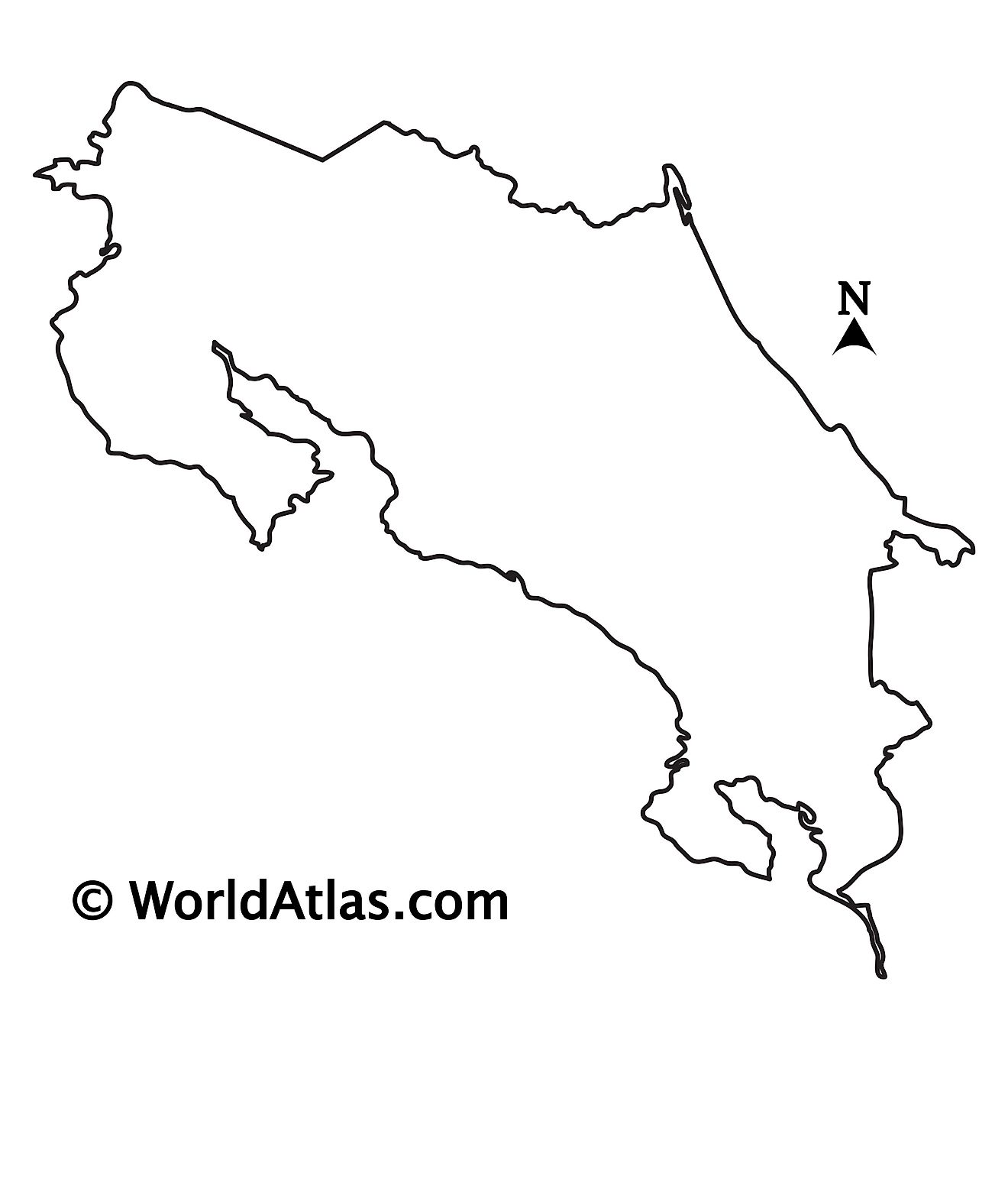Blank Outline Map of Costa Rica