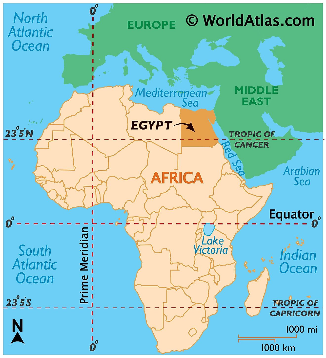 Map showing location of Egypt in the world.