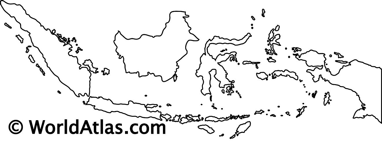 Blank Outline Map of Indonesia