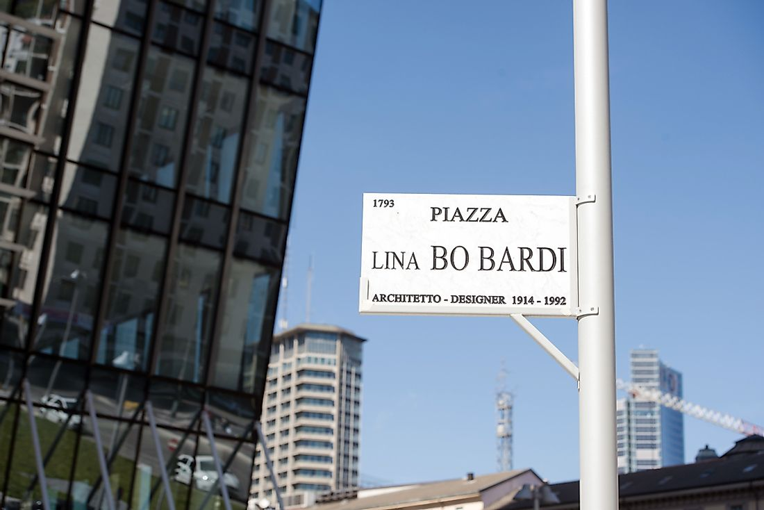 Piazza Lina bo Bardi, in Milan, Italy, is named for the architect. Editorial credit: Paolo Bona / Shutterstock.com.