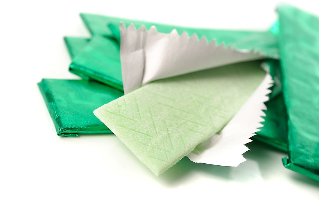 Flavored chewing gum was first patented in the United States in 1869.​