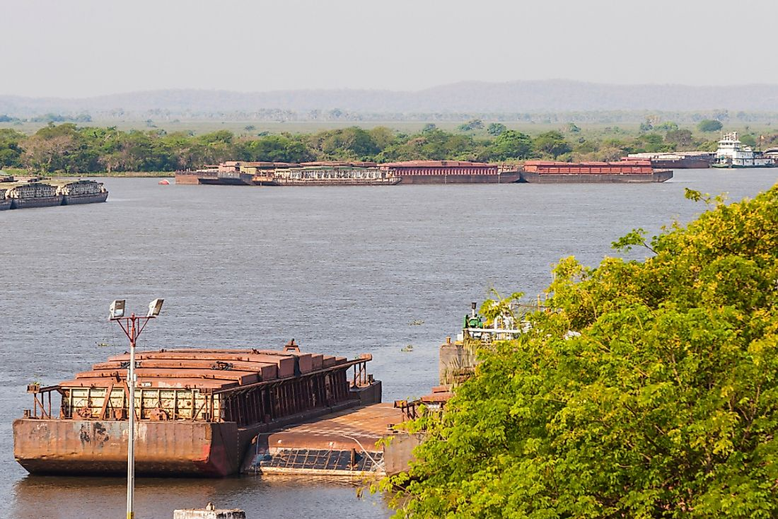 A barge carrying soybeans in Paraguay.