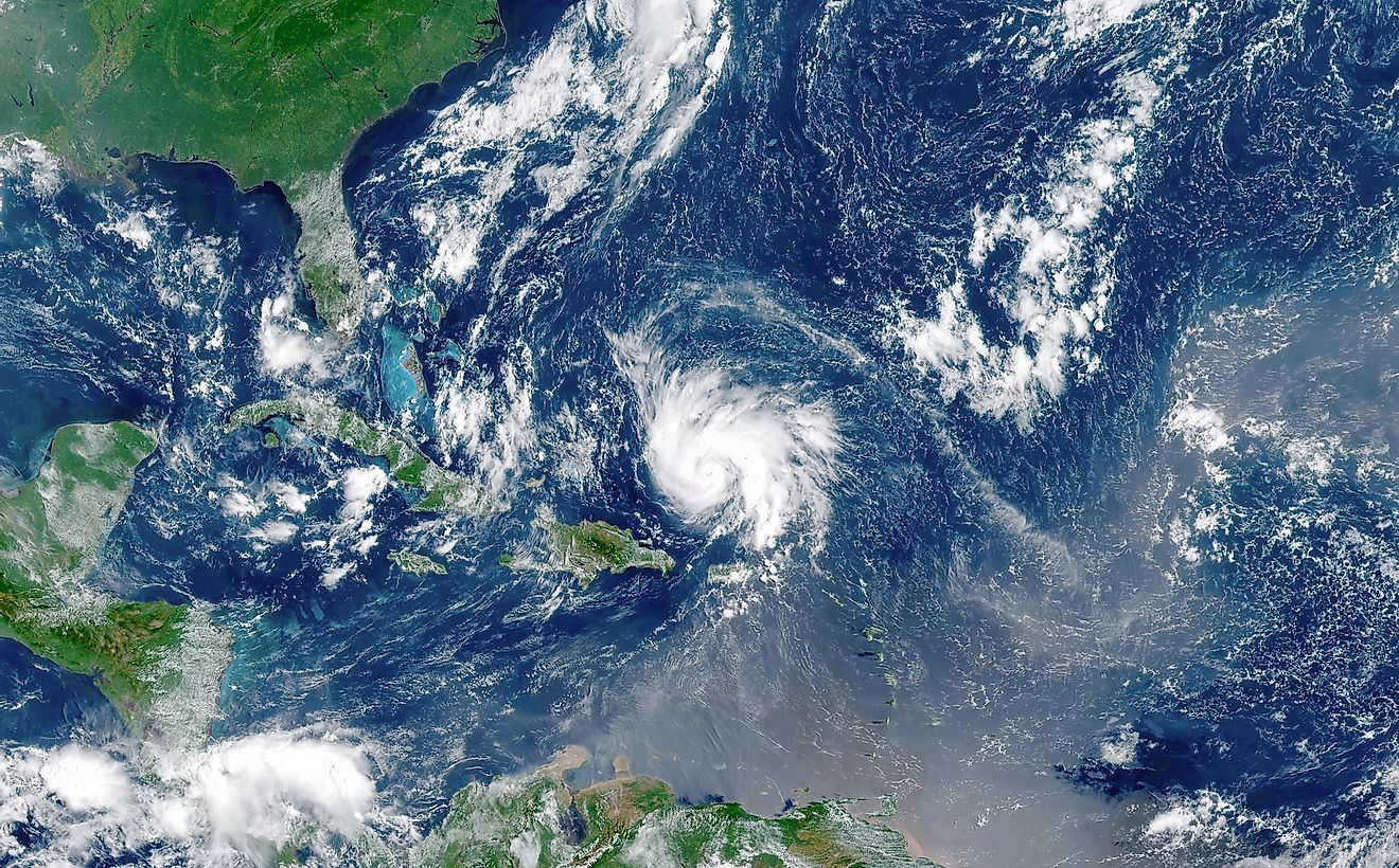 Satellite view of an hurricane approaching to USA.Elements of this image furnished by NASA. Image credit: elRoce/Shutterstock.com