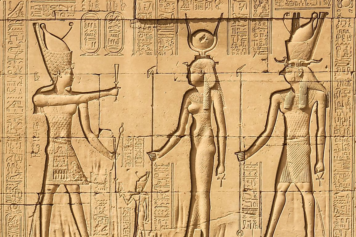 Engraving of Cleopatra at the Temple of Hathor.