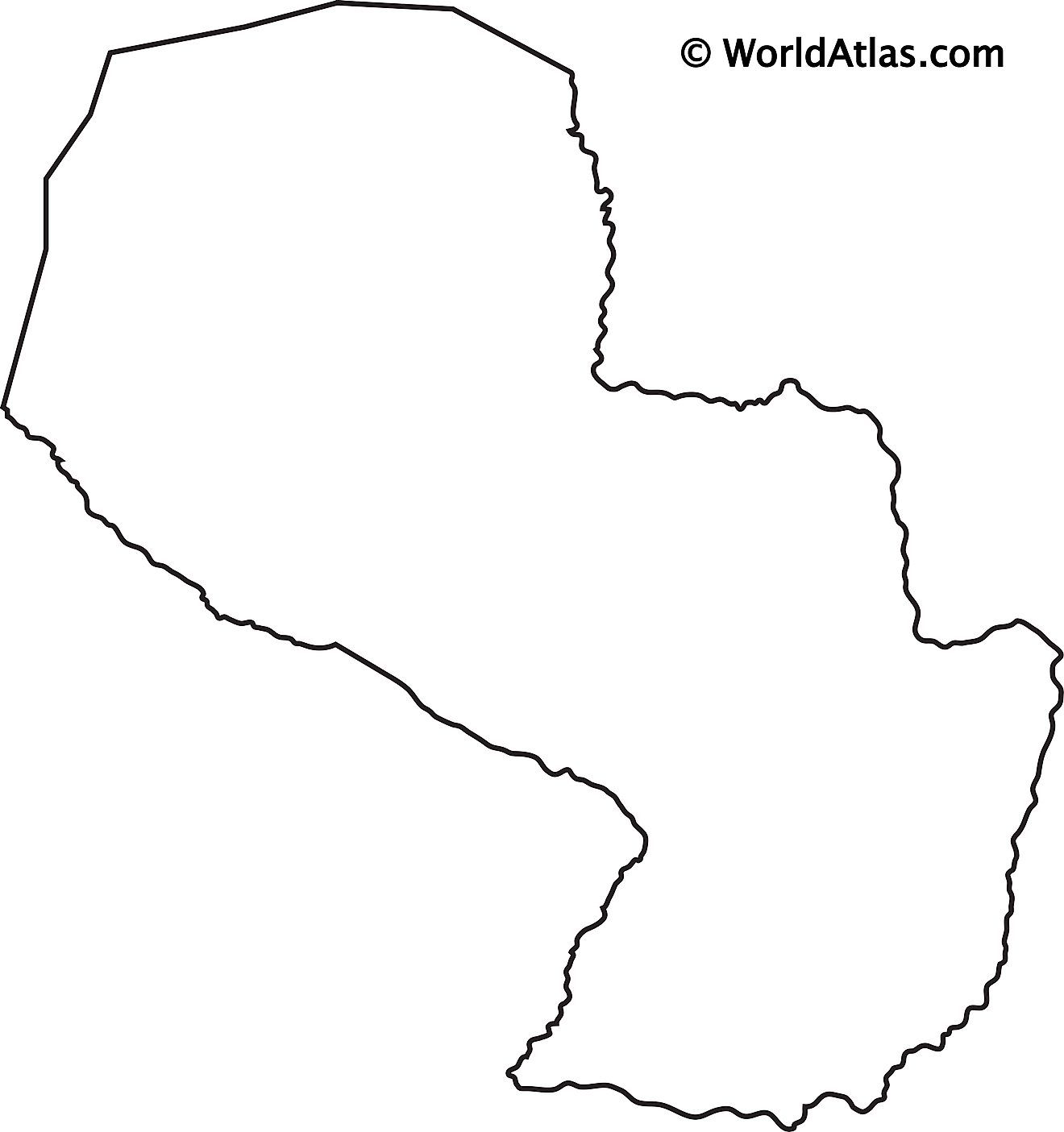 Blank Outline Map of Paraguay