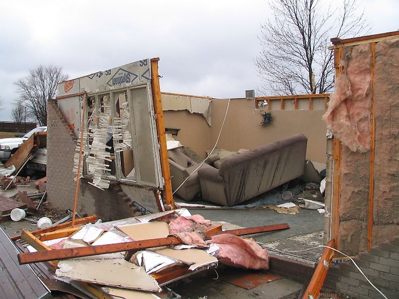 A home destroyed by an EF2 tornado in Dubois County, Indiana. Image credit: National Weather Service/Public domain