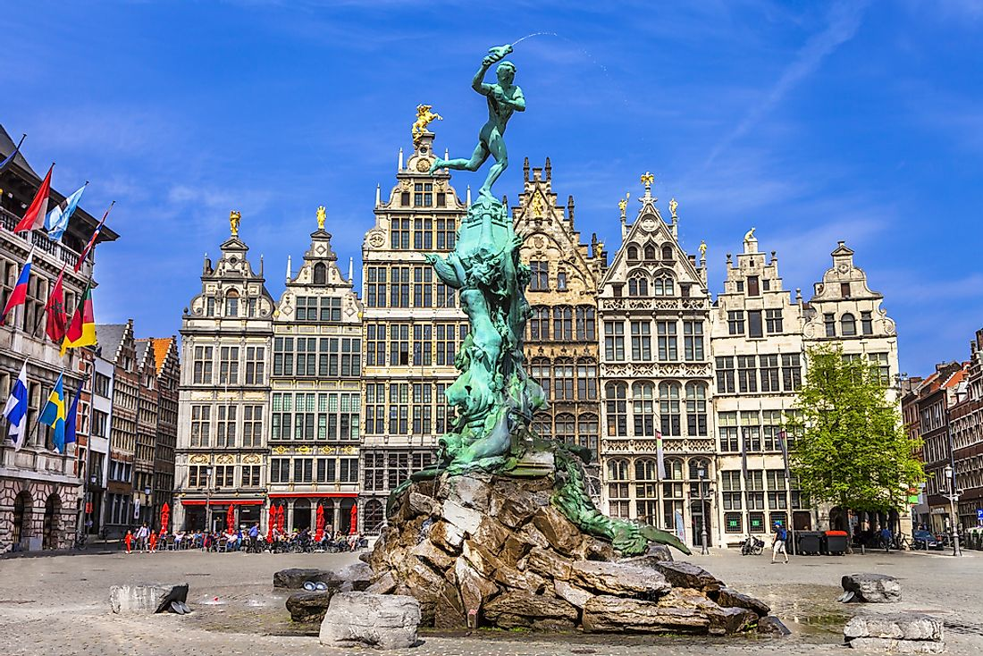 Traditional Flemish architecture is seen in Antwerp, Belgium.