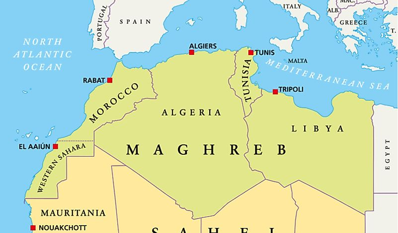 A map showing the countries of the Maghreb.