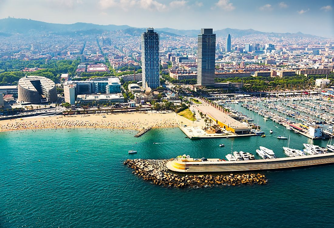 The port of Barcelona is the busiest cruise port in the Mediterranean.
