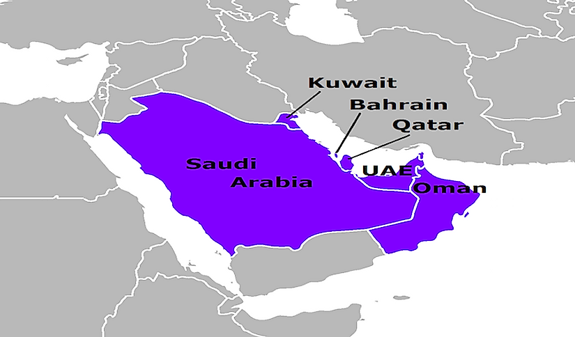 A map showing the GCC countries.