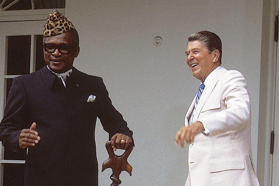 President Mobutu Sese Seko of Zaire (left) is considered one of the most corrupt leaders of the 20th century. Editorial credit: mark reinstein / Shutterstock.com