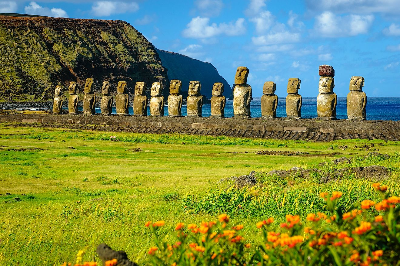 The ancient moai of Ahu Togariki, on Easter Island, some 2,000 miles off the coast of Chile. Image credit:  Kristopher Kettner/Shutterstock.com