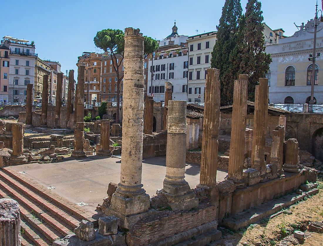 Remains of the Largo di Torre Argentina in Rome, Italy were Julius Caesar was killed.