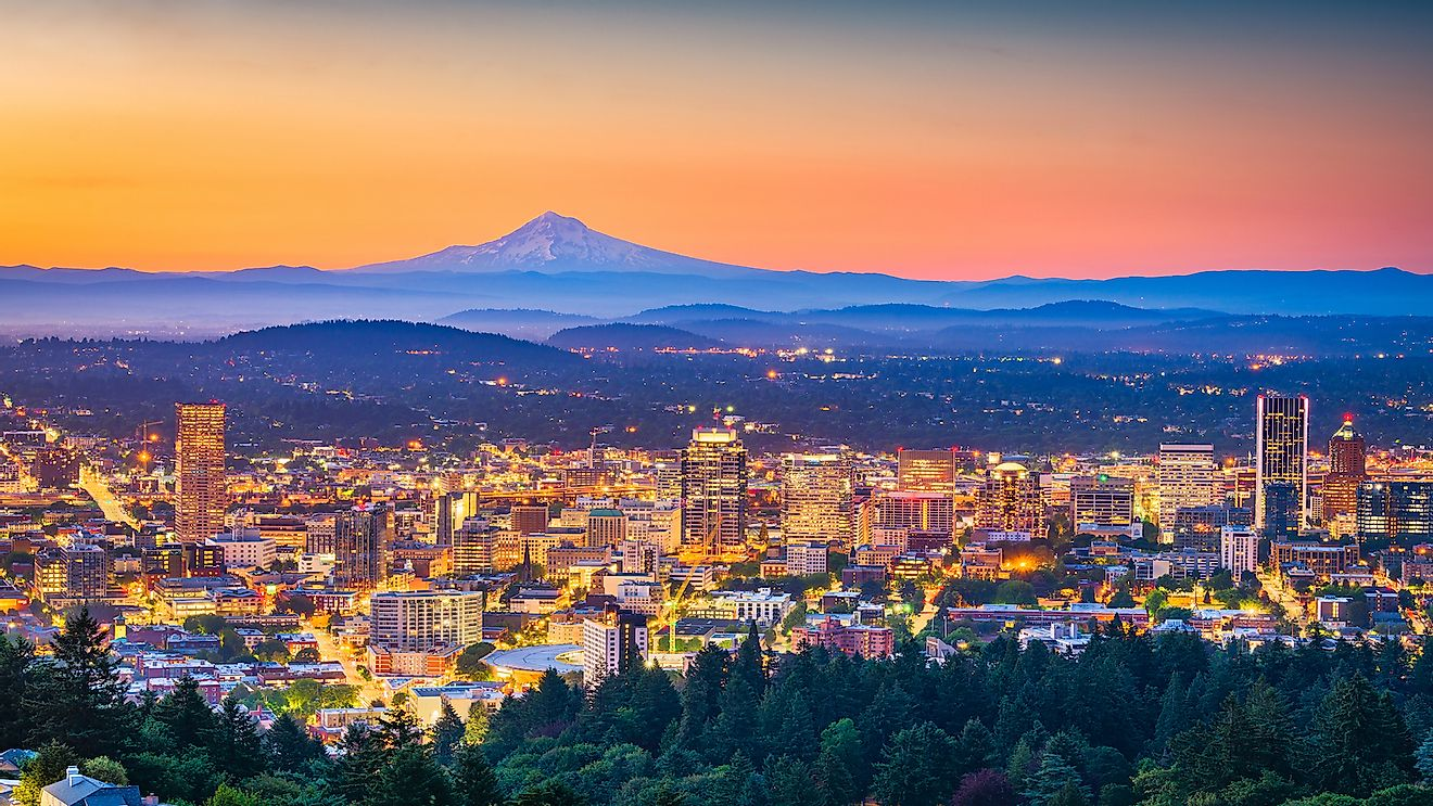 Skyline of Portland, Oregon.