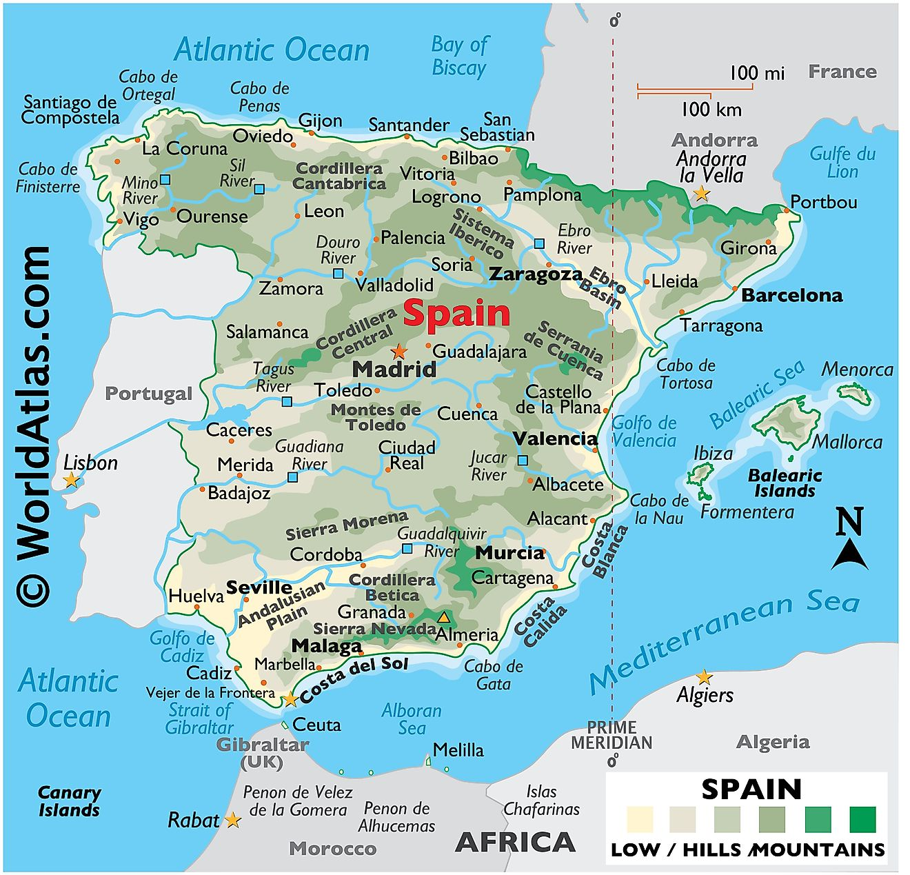 Physical Map of Spain showing its relief, state boundaries, mountains, extreme points, major lakes, rivers, important cities, etc.