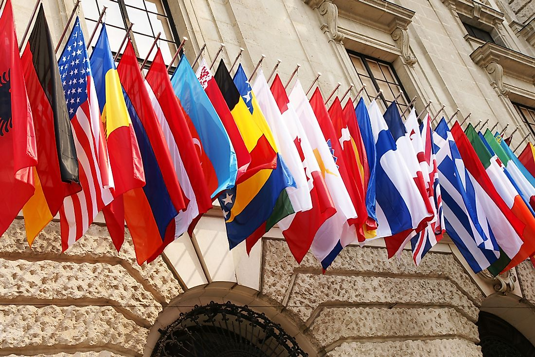 Flags of OECD countries.