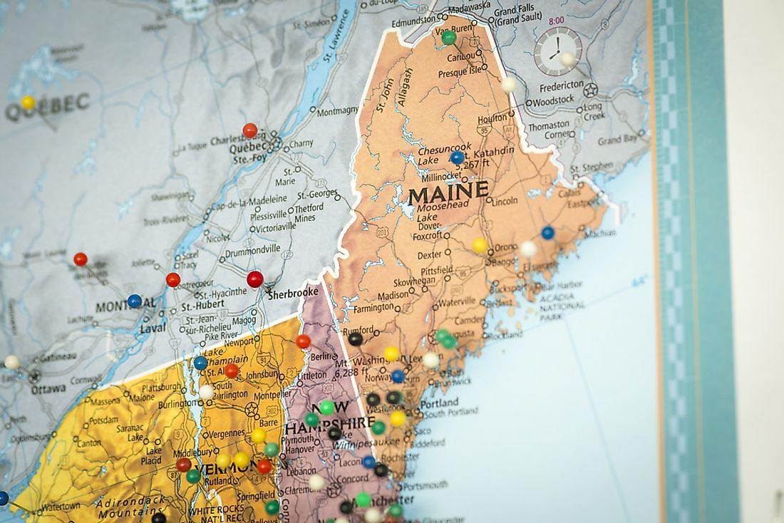 A map showing some of the states that make up New England.