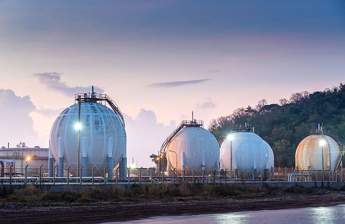 Tanks of natural gas.