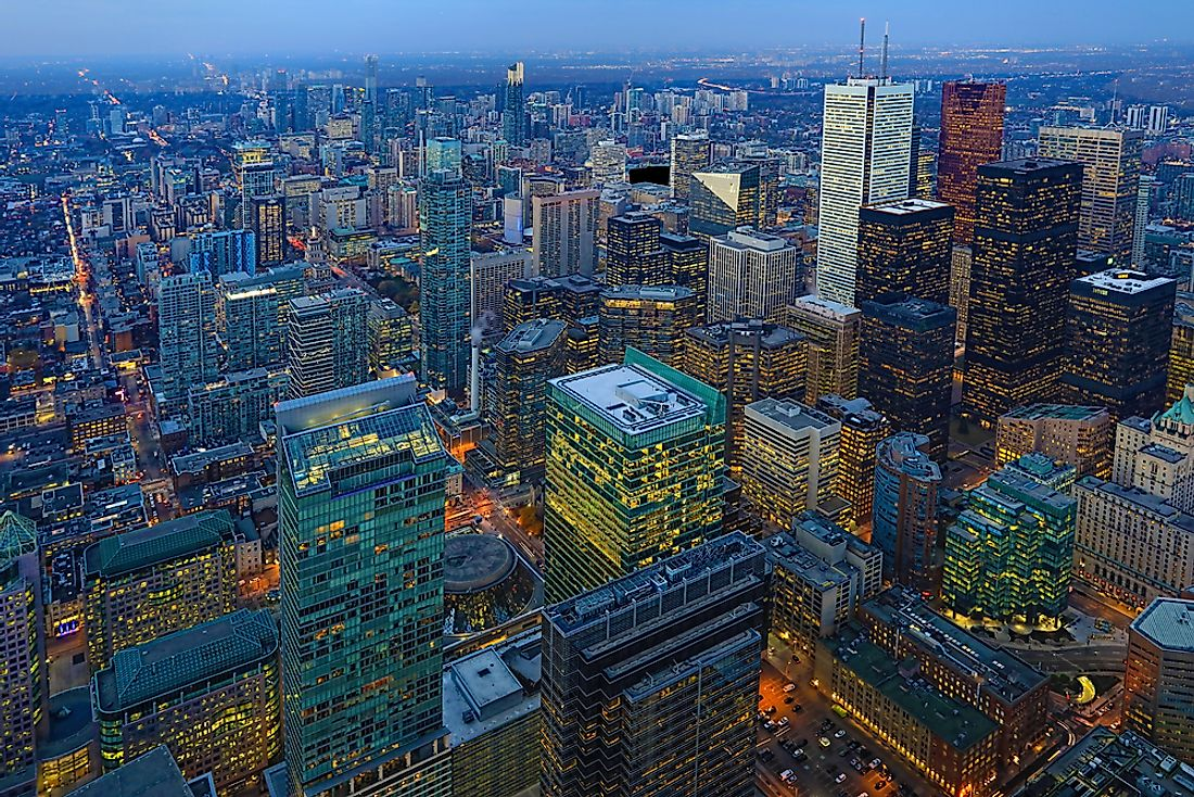 Toronto, Ontario, Canada, in North America. North America is the world's most urbanized country.
