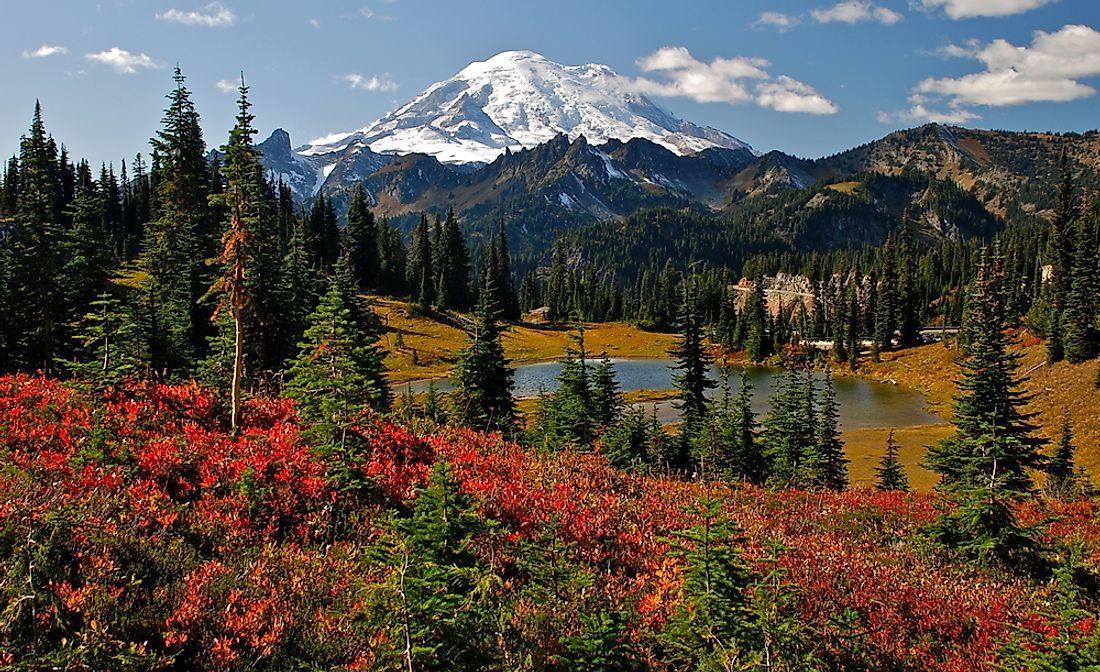 Mount Rainier, near the city of Seattle, Washington.