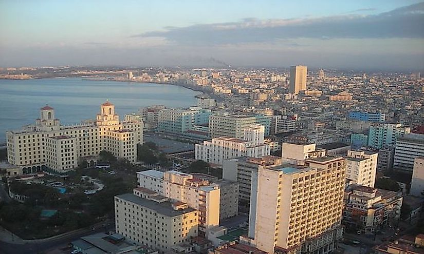 The skyline of Havana, the commercial center and major port city of Cuba.