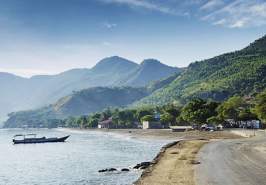 Coastal view of Timor-Leste, a southeastern Asian nation once under Portuguese colonial rule.