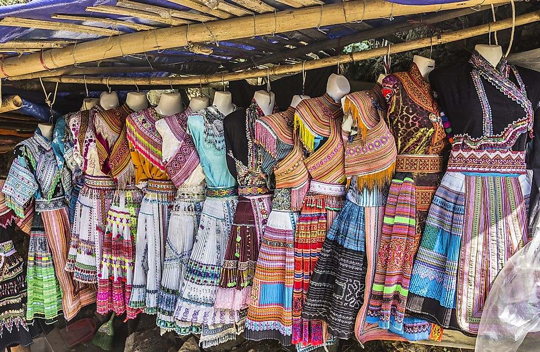 Traditional dresses on display in northern Vietnam.