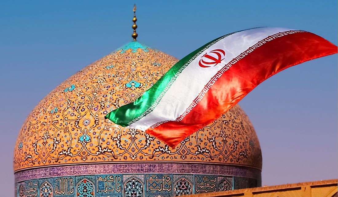 "The flag of Iran features the Arabic word ""Allah"" and Arabic phrase ""God is the greatest."""