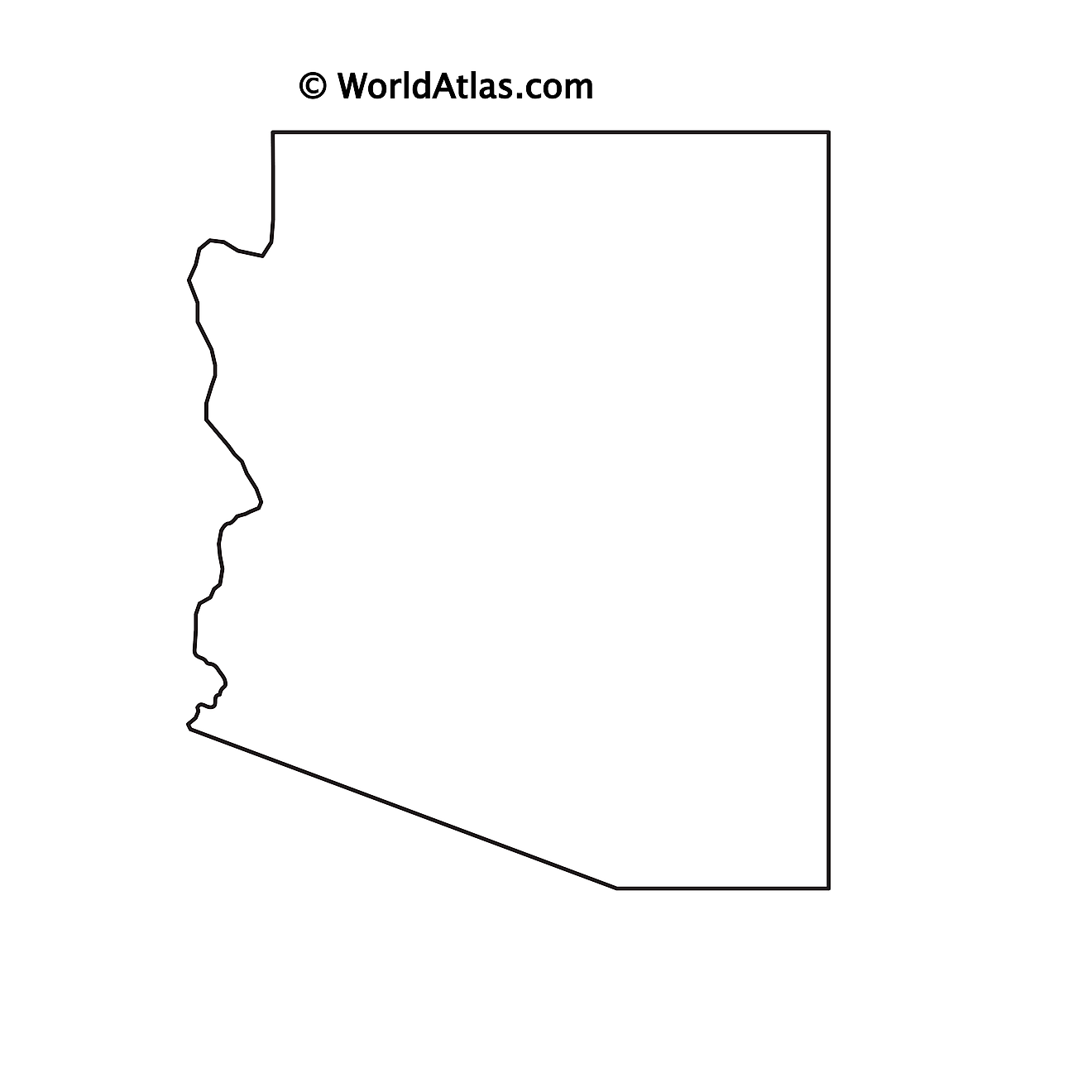 Blank Outline Map of Arizona