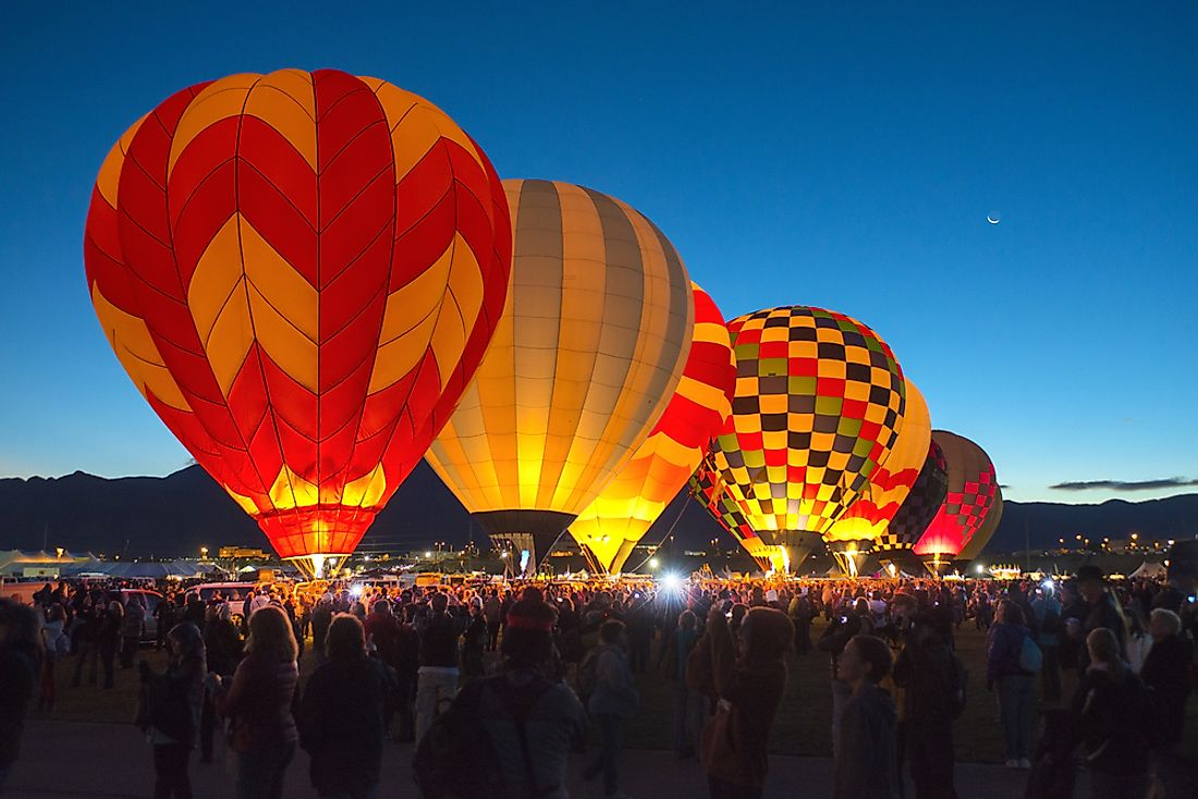 Editorial credit: Richard Susanto / Shutterstock.com. A group of hot air balloons at the Albuquerque International Balloon Fiesta.