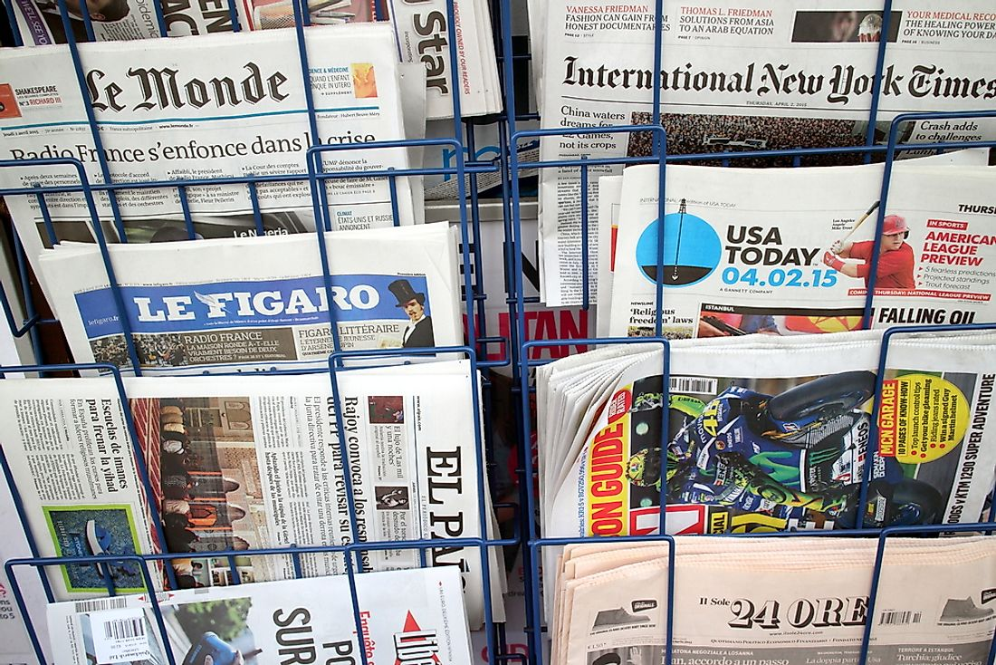 A newsstand in New York showing a variety of languages. Editorial credit: Thinglass / Shutterstock.com.
