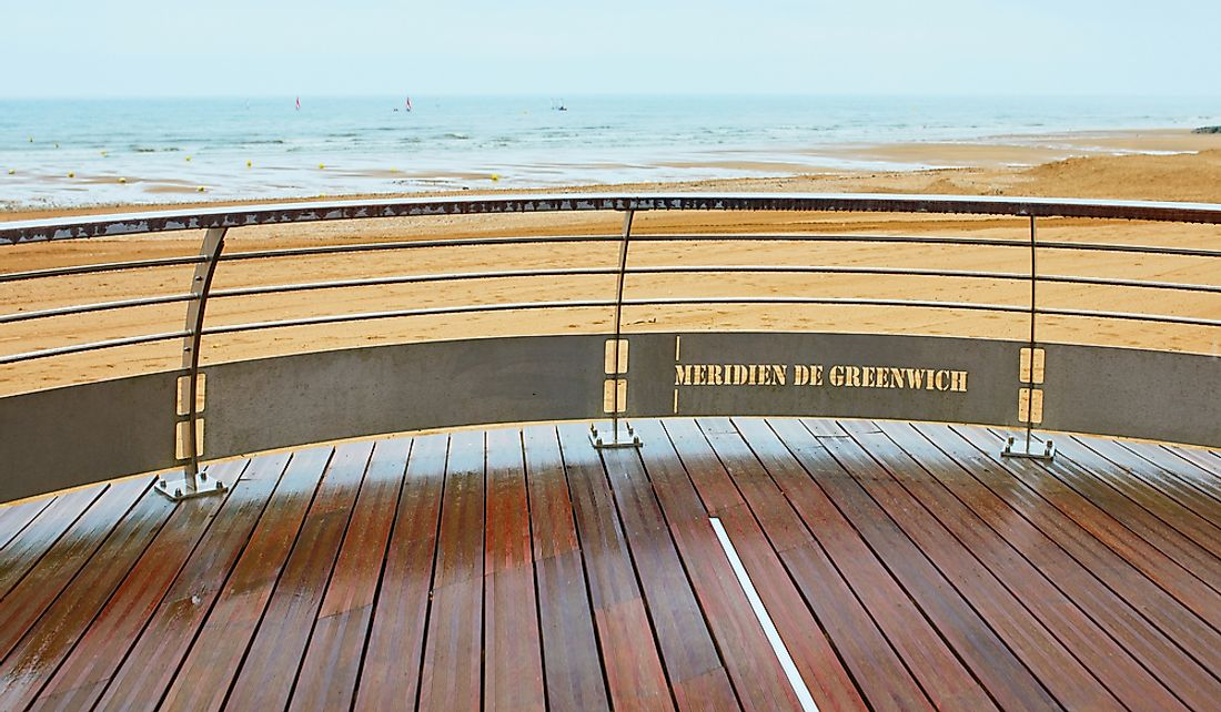 The prime meridian line in Villers-sur-Mer, Lower Normandy, France.