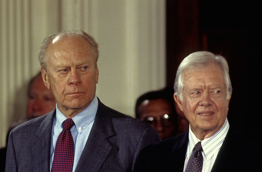 Gerald Ford, left. Editorial credit: mark reinstein / Shutterstock.com.