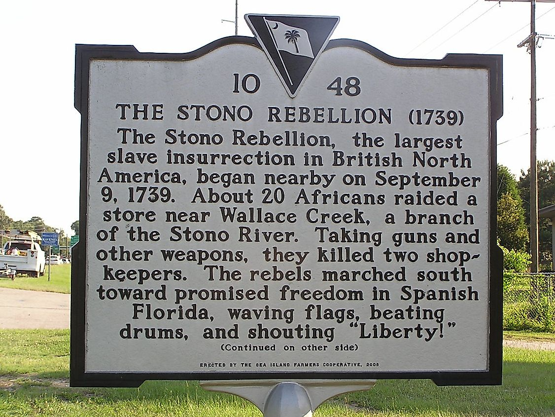 A monument detailing the Stono Rebellion.