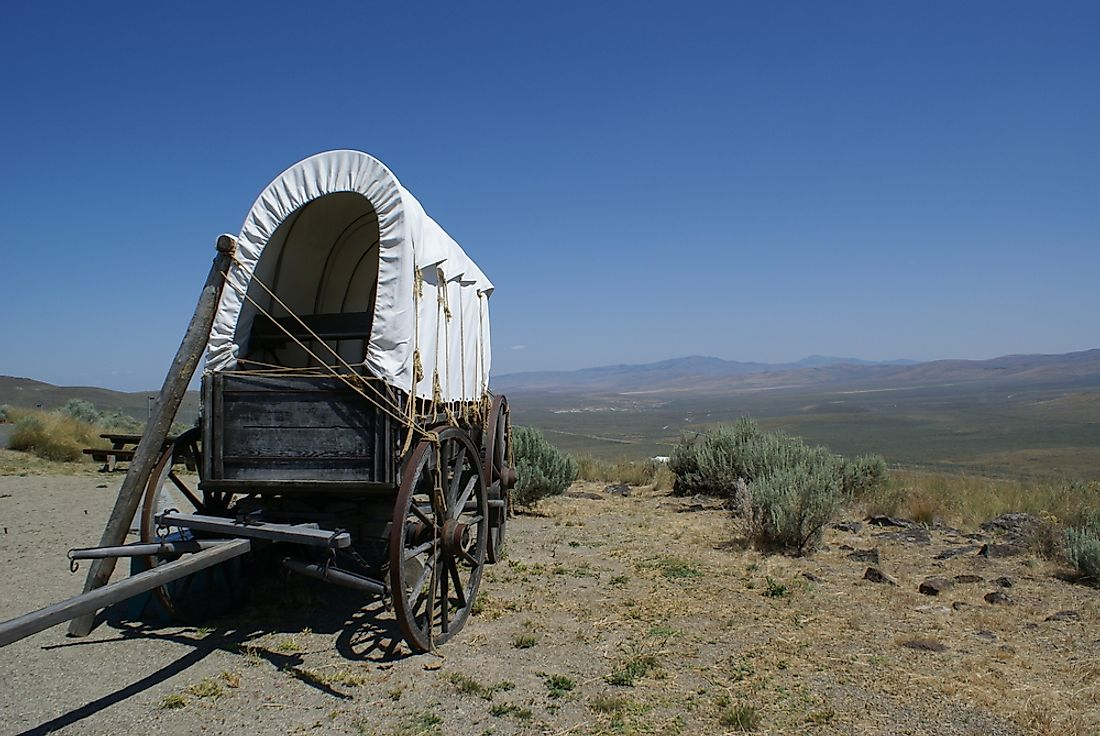 A settler's wagon on the Oregon Trail.