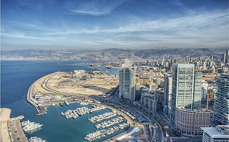 Aerial View of Beirut Lebanon, City of Beirut.
