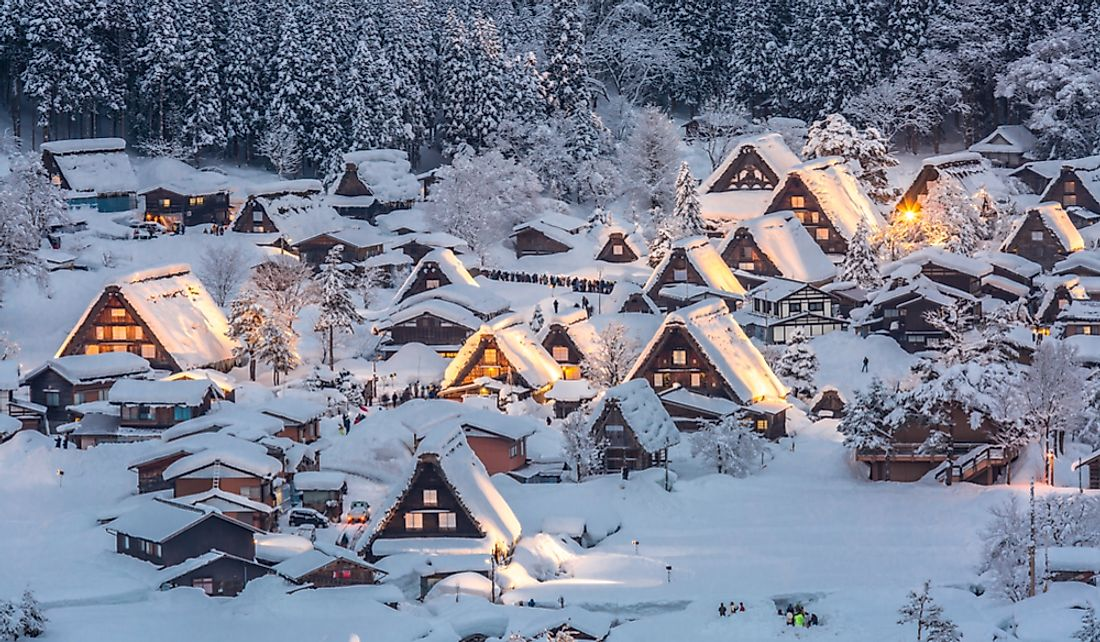Snow covered houses in the village of Shirakawa, Gifu Prefecture, Japan.
