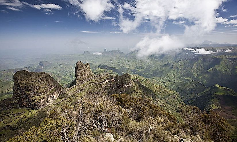 The Ethiopian Highlands in Ethiopia hosts the tallest mountain in the country, Ras Dashen.