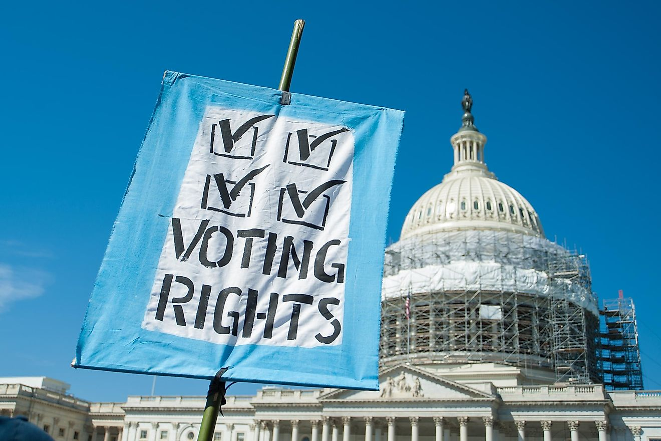 According to the Voting Rights Act of 1965, all types of discrimination connected to voting is prohibited.