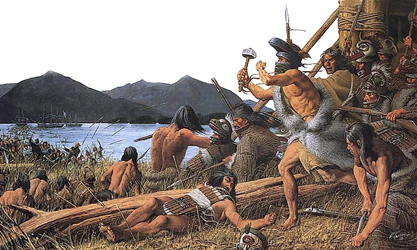 Native Americans used weapons for hunting, fighting against other indigenous tribes, and later the Europeans.