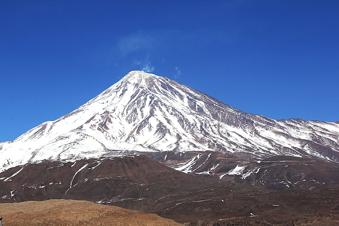 Mount Damavand, the highest point in Iran.