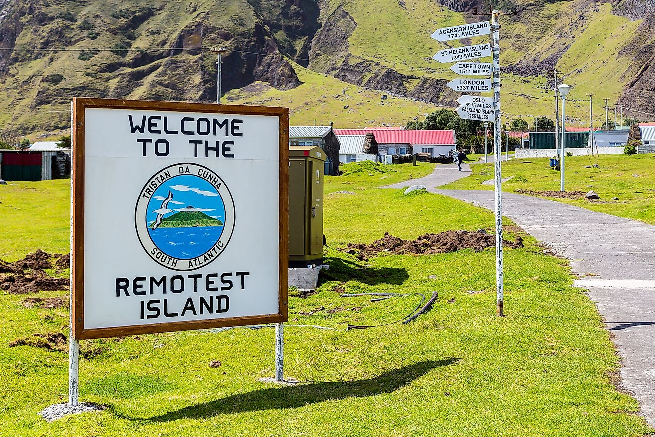 A sign welcoming tourists to Tristan Da Cunha, regarded as the world's remotest island. Image credit: maloff/Shutterstock.com
