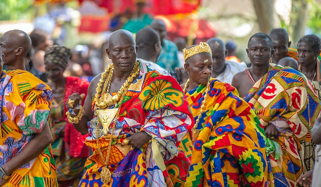 Kante Kings in traditional clothing at the Odwira Festval in Aburi, Ghana.   Editorial credit: Yaayi / Shutterstock.com