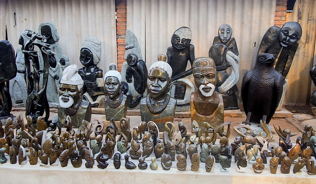 Stone statues are some of the famous handicrafts of Zimbabwe.