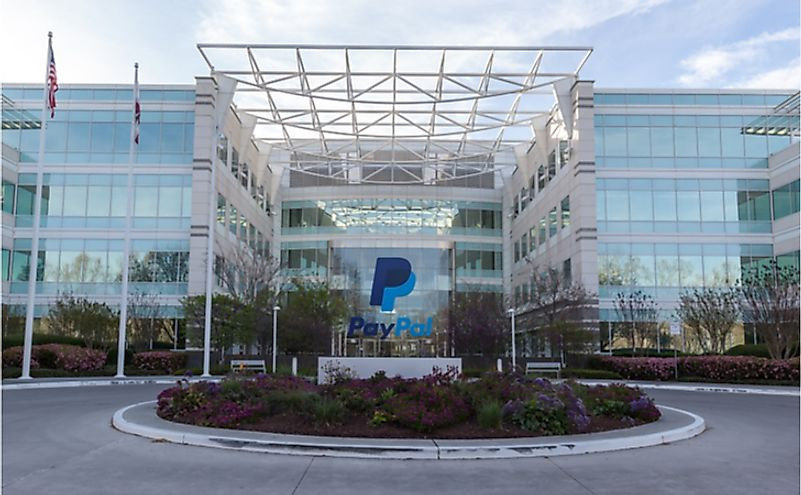 Exterior view of Paypal 's headquarters in Silicon Valley. Editorial credit: JHVEPhoto / Shutterstock.com
